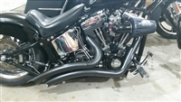 BLACK LSD BIG RADIUS EXHAUST 1986-2017 HARLEY SOFTAIL W/ HEAT SHIELD