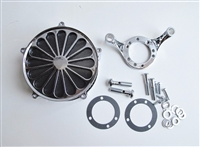 "CHROME ""SS2"" AIR CLEANER FILTER KIT CV CARB OR FUEL INJECTION HARLEY"