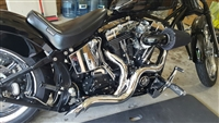"CHROME LAF WITH HEAT SHIELDS , POINTED AMBUSH Step Tuned 2-1/2"" Racing EXHAUST Pipes SOFTAIL,CUSTOMS"